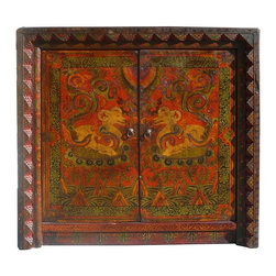 Golden Lotus - Oriental Tibetan Style Animal Pattern Side Table Cabinet - This is an old cabinet restored with hand drawing Tibetan animal & flower pattern and motif. There are hand carved accent around the doors. It can be used simply as an accent cabinet with its special decorative graphic.