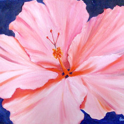 Pink Hibiscus (Original) by Carmen  Beecher - I was channeling Georgia O'Keeffe just a bit when I painted this one. I live in Florida, so hibiscus flowers abound and make very good subjects.