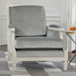 Global Views - Global Views Lille Chair - Oversized Item - White Glove Delivery - CratedThis beautiful furniture is French-inspired with an ivory lacquered hardwood frame, an exaggerated spade foot, and is upholstered in a luxurious silver antiqued cotton-blend velvet or Muslin.Available in Gray (Luxurious silver antiqued cotton-blend velvet) or Covered w/ Muslin.49% Rayon, 42% Cotton, 9% Polyester - Pile 100% Rayon; Foam density: 2.5(T40SfSR), No Sag Springs, Dacron Like Fill