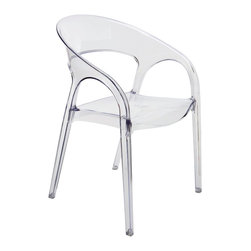 Kathy Kuo Home - Kessler Round Back Acrylic Modern Clear Dining Chair - It's clear to see that this modern, polished polycarbonate chair is a sleek, stylish choice for open, airy seating. The curved shape is comfortable for dining, conversation and lengthy visits from friends. As an added bonus, the chairs are stackable for easy storage.