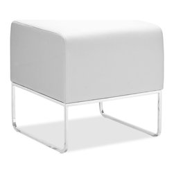 Zuo - Plush Ottoman, White - The Plush Ottoman is versatile and durable.  The leatherette wrapped cushion is perfect for kicking back and relaxing or even additional seating. The chromed steel tube legs are subtle, but attractive.  Available in black, white, espresso and silver.
