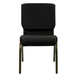 "Flash Furniture - Hercules 18.5"" Wide Black Dot Patterned Stacking Church Chair - This Hercules Series Church Chair will add elegance and class to any Church, Hotel, Banquet Room or Conference setting. If you are looking for a chair with comfort and style that is easy to move and stores away with ease, then look no further. This built to last chair has a 16-gauge steel frame that has been tested to hold 600 lbs. This church chair features double support bracing, ganging clamps, a cushion that graduates to a 4.25 in.  thick waterfall edge and plastic floor glides to protect non-carpeted floors. Our church chair is manufactured by one of the most reputable stack chair manufacturers in the industry, you can be assured of the quality of this chair offered to you."