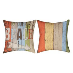 Pair of `To the Beach` Climaweave 18 Inch Indoor / Outdoor Throw Pillows - This pair of 18 inch by 18 inch woven throw pillows adds a wonderful accent to your home or patio. The pillows have ClimaWeave weatherproof exteriors, that resist both moisture and fading. They have a weathered board print on both front and back, with `To The Beach` and an arrow printed on the front. They have 100% polyester stuffing. These pillows are crafted with pride in the Blue Ridge Mountains of North Carolina, and add a quality accent to your home. They make great gifts for anyone who loves the beach.