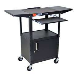 "Luxor - Luxor Presentation Cart - AVJ42KBCDL - The Luxor AVJ42 Series are excellent multipurpose AV / Utility Carts.  24""W X 18""D X 24""-42""H Adjustable height from 24"" to 42"" in 2"" increments. Shelves are 24""W x 18""D Roll formed shelves with powder coat paint finish Tables are robotically welded. Cables pass through holes. 1/4"" retaining lip around each shelf. 3-outlet, 15' UL and CSA listed electrical assembly with cord plug snap. 4"" ball bearing casters, two with locking brakes. Includes safety mats.  This AVJ42KBCDL is a black adjustable height cart with Cabinet, Keyboard and mouse shelf with 2 drop leaf shelves. Keyboard Tray Measures: 18 3/4"" x 11 3/4"". The Cabinet model has reinforced locking doors with full length piano hinges and is made from 20 gauge steel with inner dimensions 17 1/2'D x 24""W x 16 5/8""H. The drop leaf shelves measure 11""W x 18""D  Optional Big wheel models available.   Built to last with a lifetime warranty. Made in USA"