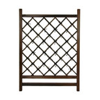 Oriental Furniture - Japanese Wood & Bamboo Fence Section - At 2 and a half feet wide and 3 and a half feet tall, these beautifully crafted wood and bamboo fence sections are designed for comparatively small applications, although they are not limited to them. Well made from rustic stained kiln dried wood frames, and dark stained kiln dried whole bamboo pole. We think these inexpensive, good quality, and exceptionally attractive designs will inspire the gardeners among our customers.