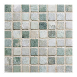 Ming Green 5/8 X 5/8 Tumbled Marble Mosaic - Ming Green 5/8 x 5/8 inches tumbled marble on a 12x12 meshed sheet for easy installation has minimal tone on tone veining and is recommended for indoor projects in bathrooms, kitchens and other design applications.   Also known as Verde Laguna