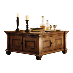 Kincaid - Kincaid Tuscano Solid Wood Square Cocktail Table - This lovely cocktail table will give your traditional living room a warm and inviting look that friends and family will love. In warm medium solid wood, this table features a large square top surface with classic molded edges. Two doors and two drawers below offer lots of enclosed storage space, so you can keep clutter hidden when guests arrive. Add this pretty table to your home for great style and function.