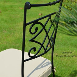 DIAMOND FULL WROUGHT IRON GARDEN PATIO CHAIR WITH WASHABLE CUSHION - Reference: OCH3-US