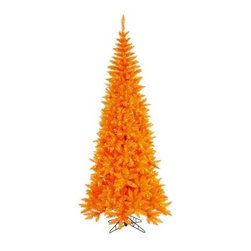 Vickerman Orange Slim Fir Pre-lit Christmas Tree - The Vickerman Orange Slim Fir Pre-lit Christmas Tree is a vibrant orange fir tree that boasts a variety of features to make your holiday arrangements easier to manage. The tree features PVC tips with hinged branch construction, as well as an on/off foot pedal switch for your convenience.Specifications for 9-foot tree Shape: Slim Base Width: 46 inches Number of Bulbs: 700 Number of Tips: 1798Specifications for 7.5-foot tree Shape: Slim Base Width: 40 inches Number of Bulbs: 500 Number of Tips: 1238Specifications for 6.5-foot tree Shape: Slim Base Width: 34 inches Number of Bulbs: 400 Number of Tips: 948Specifications for 5.5-foot tree Shape: Slim Base Width: 30 inches Number of Bulbs: 300 Number of Tips: 722Specifications for 4.5-foot tree Shape: Slim Base Width: 24 inches Number of Bulbs: 200 Number of Tips: 400 Don't Forget to Fluff!Simply start at the top and work in a spiral motion down the tree. For best results, you'll want to start from the inside and work out, making sure to touch every branch, positioning them up and down in a variety of ways, checking for any open spaces as you go.As you work your way down, the spiral motion will ensure that you won't have any gaps. And by touching every branch you'll create the desired full, natural look.About VickermanThis product is proudly made by Vickerman a leader in high quality holiday decor. Founded in 1940, the Vickerman Company has established itself as an innovative company dedicated to exceeding the expectations of their customers. With a wide variety of remarkably realistic looking foliage, greenery and beautiful trees, Vickerman is a name you can trust for helping you create beloved holiday memories year after year.