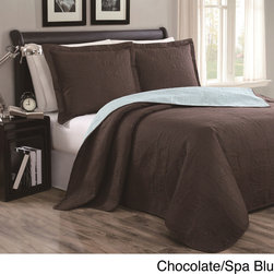 None - Cambria 3-piece Reversible Quilt Set - This quilt features floral stitching, an elegant look with matching soft sculpted pillow shams that add depth, texture and charm. The set includes shams and is available as a queen quilt set or a king quilt set.