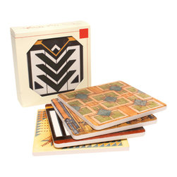 """CoasterStone - Frank Lloyd Wright Rug Designs Coasters Gift Set, Set of 4 - Frank Lloyd Wright rug designs are the source for this gift set of coasters. The gift collection contains one each of the following coaster designs: Imperial Arrow, Coonley, Meyer May and Imperial Square. Each Frank Lloyd Wright coaster is 4"""" square, made of original porous sandstone and is cork-backed to protect furniture and prevent scuffs."""