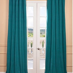 EFF - Teal Hand-woven Cotton-blend Curtain Panel - The Teal Hand-woven Cotton-blend Curtain Panel adds a casual and warm look to any window setting. This drape is tailored from the finest hand-loomed cotton blend that is soft to the touch and a joy to gaze upon.