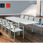 White Glass Outdoor Extension Dining Table - White glass outdoor extension dining table extends up to 126'' long.