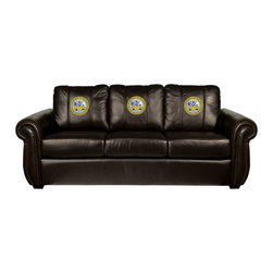 Dreamseat Inc. - US Army Insignia Chesapeake Brown Leather Sofa - Check out this Awesome Sofa. It's the ultimate in traditional styled home leather furniture, and it's one of the coolest things we've ever seen. This is unbelievably comfortable - once you're in it, you won't want to get up. Features a zip-in-zip-out logo panel embroidered with 70,000 stitches. Converts from a solid color to custom-logo furniture in seconds - perfect for a shared or multi-purpose room. Root for several teams? Simply swap the panels out when the seasons change. This is a true statement piece that is perfect for your Man Cave, Game Room, basement or garage.