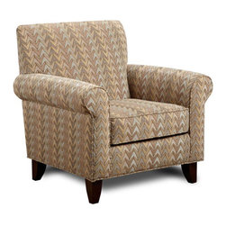 "Chelsea Home - Camden Accent Chair - Traditional style. Upholstered in frazzle twilight. Seating comfort: Medium. Hardwood frames nailed together for strength and durability. Attached back cushion. 1.8 density foam in cushions. Dacron wrapped and fully reversible cushions. Made from 77% cotton and 23% polyester. Made in U.S.A. No assembly required. 37 in. W x 32 in. D x 38 in. H (60 lbs.)The motto of Verona VI is ""Where Style Meets Value"". We understand the importance of the distinct, yet separate elements that the consumer as well as the retailer expects from today's manufacturers. It is our purpose driven desire to meet these expectations while forming friendships that will last for generations to come. We would love to have you as a part of our family as we strive to excel in our style, value and service. The stress points are reinforced with blocks to secure long lasting frame."