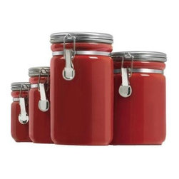 Anchor Hocking - 4pc Red Ceramic Canister Set - Anchor Hocking 03923RED Home Collection 4 Pc. Red Ceramic Clamp Top Canister Set with chrome lids - Gift Box
