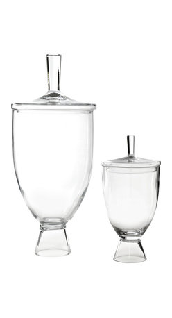 """Global Views - Global Views Simple Jar - The Global Views Simple small jar tops contemporary tables with elegant style. Curving in graceful form, the glass vessel rises from a pedestal for sophisticated storage. 9"""" Dia x 18""""H; Available in two sizes"""