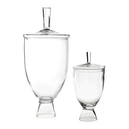 "Global Views - Global Views Simple Jar - The Global Views Simple small jar tops contemporary tables with elegant style. Curving in graceful form, the glass vessel rises from a pedestal for sophisticated storage. 9"" Dia x 18""H; Available in two sizes"