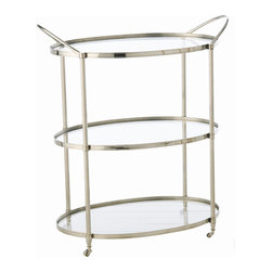 "Arteriors - Arteriors Home - Connaught Nickel Bar Cart - 3077 - Classic three level bar/serving cart with a trio of clear glass shelves and polished nickel finish metal frame on casters for easy mobility. Features: Connaught Collection Bar CartClear glass shelvesPolished nickel finish Some Assembly Required. Dimensions: W 30 1/4"" x D 19"" x H 35"""