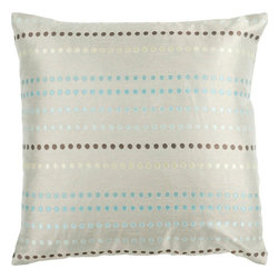 """Surya - Surya HH-078 22"""" x 22"""" Poly Fiber Pillow Kit - With small circles in a striped pattern, this pillow makes a subtle statement. Colors of light gray, light blue, and brown accent this decorative pillow. This pillow contains a poly fill and a zipper closure. Add this 22"""" x 22"""" pillow to your collection today."""