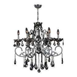 """Worldwide Lighting - Kronos 6-Light Chrome Finish and Smoke Crystal Chandelier 26"""" D x 24"""" H Large - This stunning 6-light crystal chandelier only uses the best quality material and workmanship ensuring a beautiful heirloom quality piece. Featuring a radiant chrome finish and finely cut premium grade smoke colored crystals with a lead content of 30%, this elegant chandelier will give any room sparkle and glamour."""