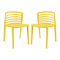 Curvy Dining Chairs Set of 2 - Indulge in no-frills, straightforward contemporary style with this modern multi-purpose chair. Made from heavy-duty molded plastic this chair was built to last. Eye catching and comfortable, this reproduction brings fashion and flavor to your space.