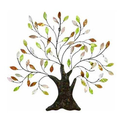 UMA - Majestic Tree of Life Metal Wall Sculpture - Majestic tree wall art with exquisitely crafted and vibrant mother of pearl leaves