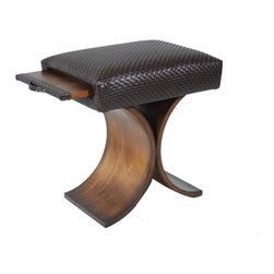 COUEF - Giana Classic Stool - The Giana Classic Stool is attractive and sophisticated. Offering the signature pullout shelf for ultimate practicality, this Giana classic has a unique design detail in the base. An inverted arched pedestal base crafted in solid wood gives off a more airy aura.  The Classic COUEF can be utilized as a stool, ottoman, end table, foot rest, coffee table and so much more.