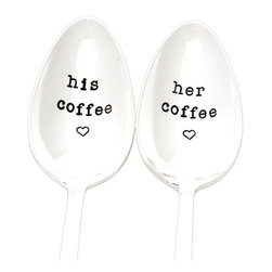 "Milk & Honey Luxuries - His and Her Coffee Spoons, Hand Stamped VintageSilverware - As seen in PEOPLE Magazine, a matching set of two vintage silver plated spoons, hand stamped with ""His Coffee"" and ""Her Coffee"" with a heart beneath.  Due to the vintage nature of these spoons, the pattern may vary for each piece and is to be expected."