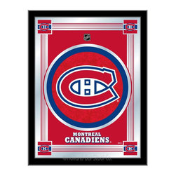 """Holland Bar Stool - Holland Bar Stool Montreal Canadiens Logo Mirror - Montreal Canadiens Logo Mirror belongs to NHL Collection by Holland Bar Stool The perfect way to show your team pride, our logo mirror displays your team's symbols with a style that fits any setting.  With it's simple but elegant design, colors burst through the 1/8"""" thick glass and are highlighted by the mirrored accents.  Framed with a black, 1 1/4 wrapped wood frame with saw tooth hangers, this 17""""(W) x 22""""(H) mirror is ideal for your office, garage, or any room of the house.  Whether purchasing as a gift for a recent grad, sports superfan, or for yourself, you can take satisfaction knowing you're buying a mirror that is proudly Made in the USA by Holland Bar Stool Company, Holland, MI.   Mirror (1)"""