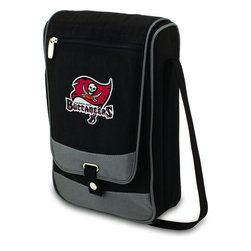 "Picnic Time - Tampa Bay Buccaneers Barossa Wine Tote in Black - The Barossa is so sleek and sophisticated, you'll want to take it with you every chance you get. It's made of 600D polyester and features an adjustable shoulder strap that makes it easy to carry and a flat zippered pocket on the exterior flap. The Barossa is fully insulated to keep your wine the perfect temperature and has a divided interior compartment to separate your bottle of wine from the 2 (8 oz.) acrylic wine glasses included. Also included are: 1 stainless steel waiter style corkscrew, 1 bottle stopper (nickel-plated), and 2 napkins (100% cotton, 14 x 14"", Black with silver pinstripe). The Barossa wine tote is perfect for picnics, concerts, or travel and makes a wonderful gift for those who enjoy wine.; Decoration: Digital Print; Includes: 21 stainless steel waiter style corkscrew, 1 bottle stopper (nickel-plated), and 2 napkins (100% cotton, 14 x 14"", Black with silver pinstripe)"