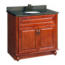 "DHI-Corp - Montclair Chestnut Glaze Vanity Cabinet with 2-Doors, 36"" by 21"" - The Design House 538546 Montclair Chestnut Glaze Vanity Cabinet is made of solid wood door and drawer frames and finished in a chestnut glaze with a water resistant seal. This product features oil rubbed bronze hardware, particle board side panels and concealed hinges. Add an additional shelf inside this cabinet for even more storage. Measuring 33.5-inches by 21-inches by 36-inches, this vanity fits in small to medium sized bathrooms while providing ample storage space. This product comes pre-assembled and features a modern aesthetic that matches traditional furnishings and granite tops. Vanity top is not included with this product. The Design House 538546 Montclair Chestnut Glaze Vanity Cabinet has a 1-year limited warranty that protects against defects in materials and workmanship. Design House offers products in multiple home decor categories including lighting, ceiling fans, hardware and plumbing products. With years of hands-on experience, Design House understands every aspect of the home decor industry, and devotes itself to providing quality products across the home decor spectrum. Providing value to their customers, Design House uses industry leading merchandising solutions and innovative programs. Design House is committed to providing high quality products for your home improvement projects."