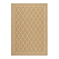 """Safavieh - Courtyard Brown/Yellow Area Rug CY5142B - 6'7"""" x 6'7"""" Round - Safavieh takes classic beauty outside of the home with the launch of their Courtyard Collection. Made in Belgium with enhanced polypropylene for extra durability, these rugs are suitable for anywhere inside or outside of the house. To achieve more intricate and elaborate details in the designs, Safavieh used a specially-developed sisal weave."""