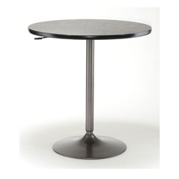 Hillsdale Furniture - Aspen Adjustable Table in Grey - Oyster Grey Base color. Black Top color. 36 in. Dia. x 36-42 in. HThis no frills pub table can adjust from 36 to 42 inches in height offering both counter height and bar height dining. The base is incised in oyster grey and has a black table top.