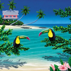 """Pink House Paradise 8x12 Print - """"Pink House Paradise"""" is a tropical canvas giclee by Dan Mackin. We present this to you in a 1/2"""" blonde frame that slightly overlaps the face of your picture. This makes for an overall framed size of 12x16."""