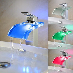 Bathroom Faucets - Color Changing LED Chrome Finish One Handle Waterfall Bathroom Sink Faucet-- FaucetSuperDeal.com