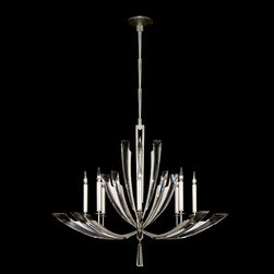 Fine Art Lamps - Vol De Cristal Eight-Light Chandelier in Platinized Silver Leaf Finish - Chandelier featuring graceful sweeps of tapered beveled crystals precisely set in metal wings in an airy platinized silver leaf finish. Prism bulbs included. Ships standard with six 8? links. U.S. PATENT NO. 7,824,084 B2 & PATENTS PENDING  - Min Max Height in inches: 43 - 93  - Bulbs included  - Made in USA  - Fine Art Lamps is world-renowned for original, elegant lighting designs favored by discerning designers, architects, consumers, and luxury homebuilders. Exquisite finishes are the company's hallmark, and many finishes take countless steps to achieve the desired effect. Each finish is handcrafted making it a one-of-a-kind work of art. Fine Art Lamps - 797340ST