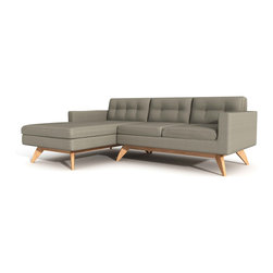 "True Modern - Luna Sofa with Chaise - ""Chaise"" things up with this sofa sectional. It has a soft retro feel, thanks to the button tufting on the back cushions. And, it's perfectly proportioned for smaller spaces, making it a good fit if you live in a condo or apartment or want to use it in a den."