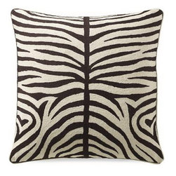 Crewel Fabric World - Crewel Pillow Zebra Black and White Cotton Duck 20x20 Inches - This Crewel Pillow is part of our flora and fauna collection. Inspired by the beauty of the Zebra, we Used the ancient art of crewel stitching that lends its richness to this evocative animal pattern, which is embroidered by hand in contrasting shades. The pillow is generous enough to Use as a floor cushion, and will add a graphic punch to a sofa or chair.