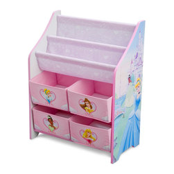Adarn Inc - Children Pink Blue Disney Princess Book & Toy Multi Bin Storage Organizer - The Princess Book and Toy Organizer is perfect for any room in your home and is perfect for keeping your little ones toys and reading materials organized in style. Features for medium sized bins perfect for storing art supplies, toys, stuffed animals and more. The top features 2 tiers for displaying books and magazines. Makes a great gift and coordinates perfectly with other Princess inspired items sold separately online. Complements other items sold separately online by children's products. With a brand new color scheme, and six uniquely sized storage boxes, this organizer makes cleaning up easy and exciting. Meets all JPMA safety standards. Some assembly required.