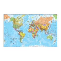 World MegaMap Laminated Wall Map - 77W x 47H in.