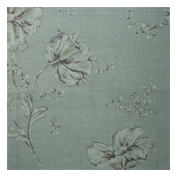 """Close to Custom Linens - 84"""" Shower Curtain, Lined, Summer's Night Spa Green Floral - Summer's Night Spa is an enchanting contemporary floral in shades of spa green, taupe and cream. The fabric has an interesting coarse weave texture similar to linen, which adds to the beauty of the design. Reinforced button holes for 12 curtain rings."""