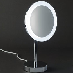 Modo Bath - Smile Magnifying Makeup Mirror Illuminated In Chrome 3x-5x - Smile 306 Magnifying Makeup Mirror illuminated in Chrome, with LED Light, Daylight White Cable Plug, Switch on Rear Side 3x or 5x Magnification, Made in Germany