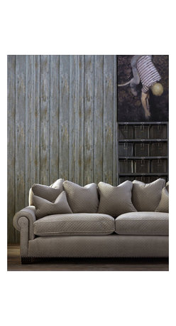 Kathy Kuo Home - Rustic Lodge Timber Panel Wallpaper - Driftwood - A stylish wood panel wallpaper design featuring excellent detail and shading to create a highly authentic traditional wood paneling effect.