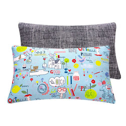 Cat and Dog Long Rectangular Pillow for Kids l Chloe and Olive - Chloe & Olive