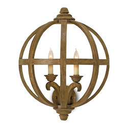 Currey and Company - Axel Wall Sconce - A study in geometry, this natural wood and wrought iron wall sconce has an industrial sensibility you want, while the two candelabras bring a traditional element to your space. Hang it in your hallway or living room — this fixture is incredibly versatile.