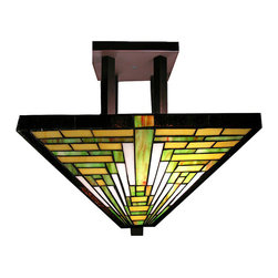 Warehouse of Tiffany - Tiffany-style Frank Lloyd Wright Mission Ceiling Lamp - Featuring mission-style design first developed by Frank Lloyd Wright, this handcrafted ceiling lamp offers 402 pieces of cut glass in brown and green to light any room with a vintage style. Crafted using methods first developed by Louis Comfort Tiffany.