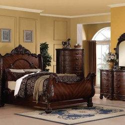 Acme Furniture - Jacob Traditional Dark Cherry 5 Piece Queen Sleigh Bedroom Set - Set includes Queen Bed, Dresser, Mirror, Nightstand and Chest