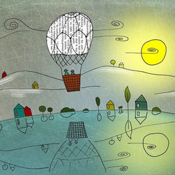 Artollo - Kids Wall Art Balloon Dreams, 11.7x16.5 - Gallery quality paper print from hand drawn original, frame not included
