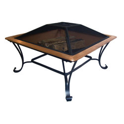 Keystone Square Copper Fire Pit - For something a bit different, the Keystone square fire pit is sure to make a statement on your patio or deck. Create an intimate environment your guests are sure to enjoy. This fire pits elegant appearance and a versatile design mix quality construction with a designer's touch and make for an impressive and lasting addition to any outdoor setting. This long lasting copper bowl rests on a sturdy steel frame with an elegant powder-coated finish. Each fire pit also features a removable screen for containing flying embers and a heavy-gauge log grate to ensure proper airflow for wood burning.
